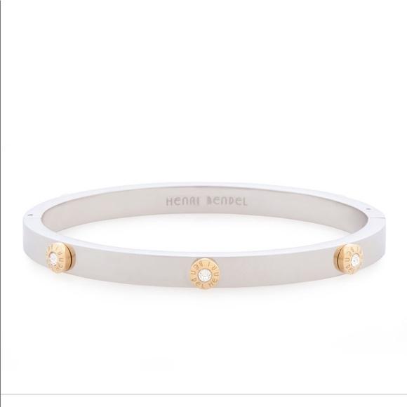 henri bendel Jewelry - Henri Bendel Silver Rivet Logo Crystal Bangle